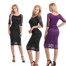 Women Floral Lace 3/4 Sleeve Slim Bodycon OL Cocktail Party Evening Pencil Dress
