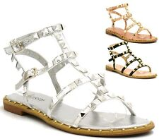 New Womens Spike Studded Flat Sandals Ladies Ankle Strap Comfy Shoes Size Uk 3-8