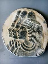 Onnig of Cairo EGYPTIAN MUSEUM COLLECTIBLE Pharaonic .OVAL Wall Plaque.SCULPTURE