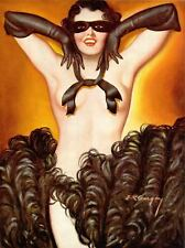 French Pinups: Pep Stories - Brunette Topless Girl w/ Mask - Bergey - 1936
