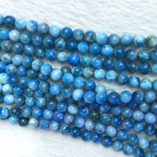 Natural Genuine Blue Apatite Round Jewellery Loose Beads 6-12mm