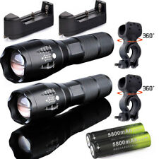 Tactical 50000LM Zoomable T6 LED Flashlights Torch+18650+Charger+Clip 00
