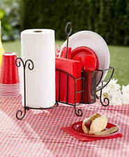 Picnic Caddy with Paper Towel Holder 4 Silverware Metal Bronze Black and White