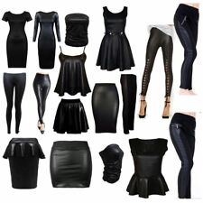 Hot Ladies Womens PU Leather Wet Look Pencil Skirt Bodycon Dress PVC Top Legging