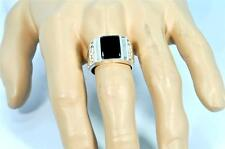 EAGLE DESIGN NATURAL BLACK ONYX 925 STERLING SILVER MENS RING #0112