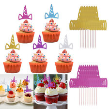 Set of 10 Unicorn Horn Shape Cake Decorations Cupcake Toppers Picks Party Favors
