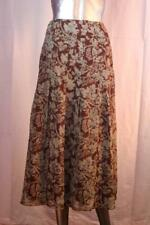 Womans PERUVIAN CONNECTION Long Mint &  Brown Floral Silk Skirt Size 12