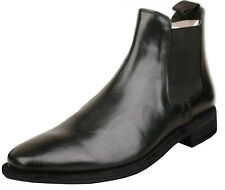 Mens  UK Size 7 Black Full Leather Slip On Chelsea Ankle Fashion Boots