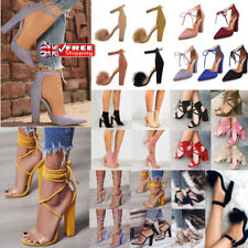 UK WOMENS HIGH HEELS BLOCK PUMPS COCKTAIL ANKLE STRAPS SANDALS CHUNKY SHOES SIZE