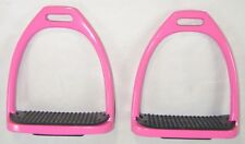 New Aluminium light Weight Stirrups for Horse Riding with treads (Pink)