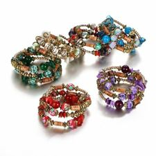 Multilayer Natural Stone Crystal Turquoise Bangle Women Beaded Bracelet Jewelry
