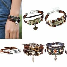 Vintage Beads Adjustable Multilayer Leather Weave Charm Bracelet Bangle Jewelry