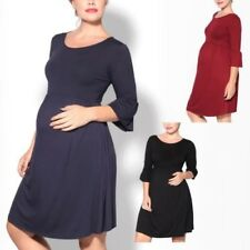 Maternity Soft Stretch Jersey Knee Long Ruffle Sleeve Loose Pregnancy Midi Dress