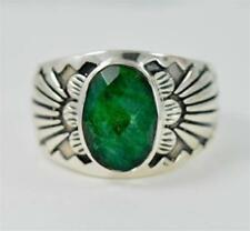 RAW EMERALD OVAL CUT MAY BIRTHSTONE 925 STERLING SILVER MENS RING # T7122