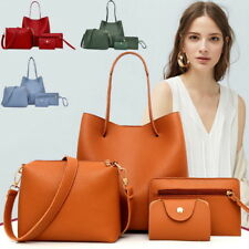 4Pcs/Set Women PU Leather Handbag Shoulder Tote Purse Satchel Messenger Bags NEW