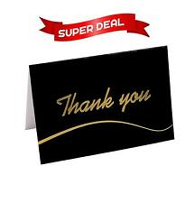 110 Elegant Thank You Cards in Blue and Black with Envelopes and Stickers