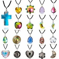 Fashion Geometric Round Leaf Heart Crystal Pendant Necklace Women Jewelry Gifts