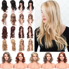 Real Thick Long Hair Full Wig Curly Straight Synthetic Brown Blonde Auburn Wigs