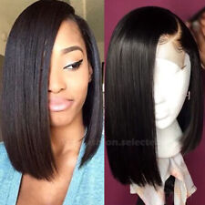Short Straight Bob Human Hair Wigs Pre Plucked Brazilian Virgin Lace Front Wig R