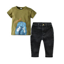 2PCS Kids Baby Boy Girls Short Sleeve T-shirt tops +Jeans Outfits Set Clothes