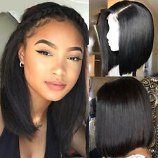 Bob Lace Front Wigs Malaysian Virgin Human Hair Wig Short Straight Pre Plucked @