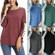 Women Casual Solid Shirt O-Neck Lace Button Blouse Splice Top Pullover Sweatshir