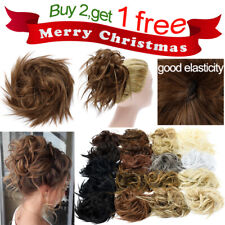 Elegant Updo Scrunchie Curly Hair Bun Extensions Messy Hair piece As Human Soft