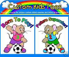 Soccer Mouse Custom Infant Baby Onesie Creeper Bodysuit or Toddler Kids T-shirt