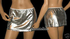 Shiny Stretch Wet Look Silver Mini Skirt New Sexy Pick Size