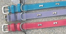 "NEW 1"" Wide Leather Dog Collar W/Silver Bones SIZES 16 18 20 22 Pink Blue Purple"