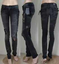 $215 NWT ROCK & REPUBLIC JEANS WYNONA CONTENDER GREY SKINNY DISTRESSED BLK LACE