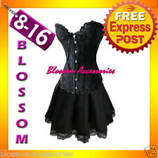 819-5 Black Gothic Lollita Corset & Skirt 8 10 12 14 16
