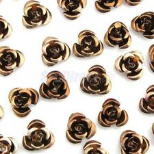 VINTAGE Pretty Rose Flower Aluminum STUD Bead 10 Color