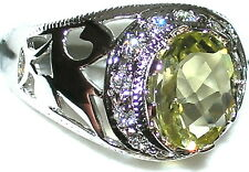 Men's Genuine Lemon Topaz Sterling Solitaire Ring