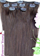 "16"" 18"" 20"" Med Brown Clip in HUMAN HAIR EXTENSION #4"