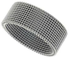 Mesh Band Ring Stainless Steel Flexible Wire Woven