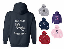 PERSONALISED HOODY / HOODIE JUMPING PONY / HORSE Childs / Kids 5 to 15 years