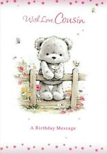 female cousin cute happy birthday card - 9 x cards to choose from!