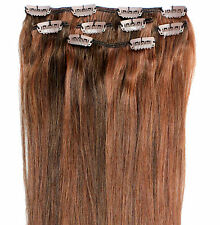 "16 18 20"" Clip in HUMAN HAIR EXTENSION Copper Brown Mix"