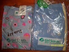 NWT 2 pc Brownie Girl Scout set Glitter T-shirt and track pants Blue Size L & XL