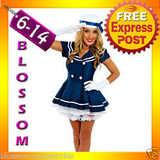 F21 Sailor Ladies Rockabilly Pin Up Uniform Fancy Dress Up Costume Outfit + Hat
