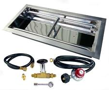 "18"", 24"", 30"" H Burner Drop In Stainless Steel Gas Fire Burner 20lb LP Tank Kit"