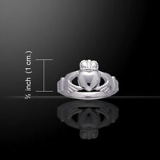 Beautiful Design Irish Celtic Claddagh Ring Size 6, 7 or 8 - Sterling Silver