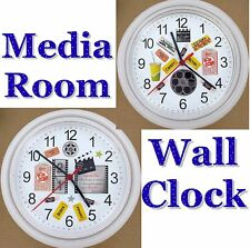 MEDIA ROOM Wall CLOCK Popcorn Movies Cinema Hollywood Bollywood DATE NIGHT Candy