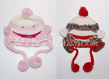 Crocheted Sock Monkey Hats Infant & Toddler Red or Pink