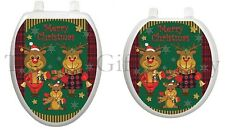 Reindeer Family Toilet Tattoo Decor Decal Lid Cover Christmas Xmas Seat TT-X605