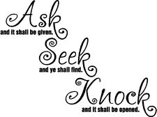 Ask Seek Knock Christian Bible Verse Vinyl Decal Sticker Wall Letters Quote Word