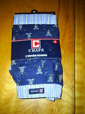Chaps 2 Pack Woven Boxers 100% Cotton Blue Small Medium Large $28 New