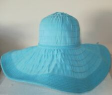 LADIES SUN HAT WIDE FLOPPY BRIM POLYESTER & PAPER STRAW BLACK OR TURQUOISE