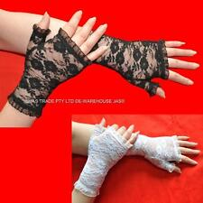 Party Punk Goth Gothic 80's 20s Gloves Lace Fingerless Stretchy Ruffled Cuffs